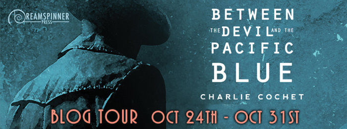 Between the Devil and the Pacific Blue blog tour header banner